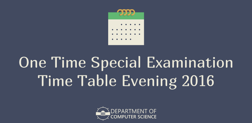 One Time Special Examination Time Table Evening 2016